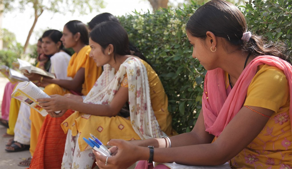 Students at Mrs. Helena Kaushik Women's College in India